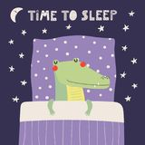 Cute sleeping crocodile. Hand drawn vector illustration of a cute funny sleeping crocodile, with pillow, blanket, lettering quote Time to sleep. Isolated objects stock illustration