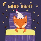 Cute sleeping fox. Hand drawn vector illustration of a cute funny sleeping fox in a nightcap, with pillow, blanket, lettering quote Good night. Isolated objects Royalty Free Stock Photo
