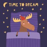 Cute sleeping moose. Hand drawn vector illustration of a cute funny sleeping moose in a nightcap, with pillow, blanket, quote Time to dream. Isolated objects Stock Photos