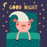 Cute sleeping pig. Hand drawn vector illustration of a cute funny sleeping pig in a nightcap, with pillow, blanket, lettering quote Good night. Isolated objects Stock Image