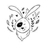 Hand drawn vector illustration - cute hare Stock Photo