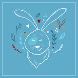Hand drawn vector illustration - cute hare with floral elements. Stock Photo