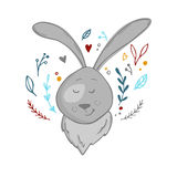 Hand drawn vector illustration - cute hare with floral elements. Royalty Free Stock Photography