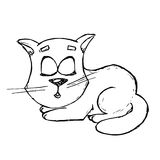 Hand drawn vector illustration of cute kitten Royalty Free Stock Photos