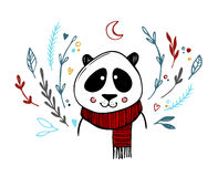Hand drawn vector illustration - cute panda with floral elements Royalty Free Stock Photo
