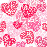 Hand drawn vector illustration - decorative hearts. Seamless pat Stock Photos