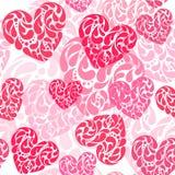 Hand drawn vector illustration - decorative hearts. Seamless pat. Tern royalty free illustration