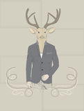 Hand Drawn Vector Illustration of Deer in a suit Royalty Free Stock Image