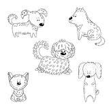 Collection of cartoon dogs stock illustration
