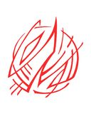 Abstract fire symbol or logo illustration. Hand drawn vector illustration or drawing of an abstract fire flames symbol or logo Royalty Free Stock Photography