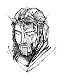 Jesus Christ Face at his Passion. Hand drawn vector illustration or drawing of Jesus Christ Face at his Passion stock illustration