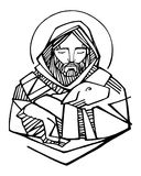 Jesus Christ Good Shepherd ink illustration. Hand drawn vector illustration or drawing of Jesus Christ Good Shepherd and sheep stock illustration