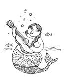 Mermaid with a guitar ink illustration. Hand drawn vector illustration or drawing of a mermaid with a guitar ink illustration Royalty Free Stock Photography