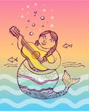 Mermaid with a guitar ink illustration. Hand drawn vector illustration or drawing of a mermaid with a guitar ink illustration Royalty Free Stock Photo