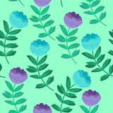 Hand drawn vector illustration. Elegant seamless pattern with bl. Ue flowers Stock Photography