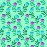 Hand drawn vector illustration. Elegant seamless pattern with bl. Ue flowers Stock Image