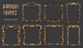 Set with gold baroque frames in rococo style with retro ornament Stock Photo