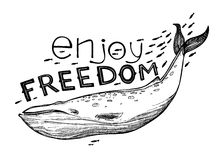 Hand-drawn vector illustration - Enjoy FREEDOM. Lettering Royalty Free Stock Photography