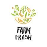 Hand drawn vector illustration - Farm fresh. Logo. Organic and v Stock Photo