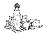 Hand drawn vector illustration -  Farmers dairy products. Stock Photo