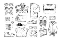 Hand drawn vector illustration - fashion accessories. Set of sty Royalty Free Stock Images