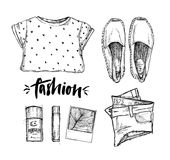 Hand drawn vector illustration - fashion accessories. Set of sty Royalty Free Stock Image