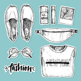 Hand drawn vector illustration - fashion accessories. Set of sty Stock Images