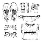 Hand drawn vector illustration - fashion accessories. Set of sty Royalty Free Stock Photo