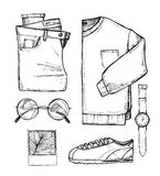 Hand drawn vector illustration - fashion accessories. Set of sty Stock Photos