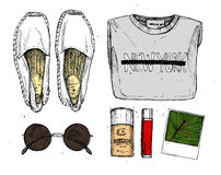 Hand drawn vector illustration - fashion accessories. Set of sty Royalty Free Stock Photos