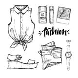 Hand drawn vector illustration - fashion accessories. Set of sty Stock Image