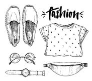 Hand drawn vector illustration - fashion accessories. royalty free illustration