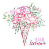 Hand drawn vector illustration - fashion bouquet of peonies, lea Stock Photo