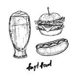 Hand drawn vector illustration - Fast food elements (hot dog. hamburger, beer). Stock Image