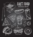 Hand drawn vector illustration - Fast food hot dog, hamburger, Royalty Free Stock Image