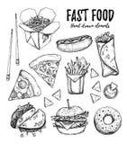 Hand drawn vector illustration - Fast food hot dog, hamburger, Stock Image