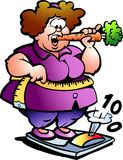 Hand-drawn Vector illustration of an Fat Lady Stock Images