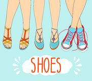 Hand drawn vector illustration feet in sneakers. Stock Photos