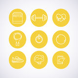 Hand-drawn vector illustration - Fitness and Health icons. Royalty Free Stock Photo
