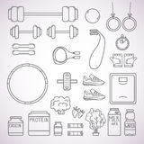 Hand-drawn vector illustration - Fitness and Health icons. Isola Stock Photo