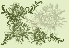 Hand drawn vector illustration with flowers Royalty Free Stock Images