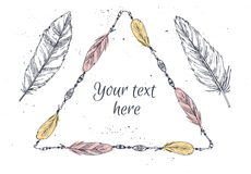 Hand drawn vector illustration - Frame with feathers. Royalty Free Stock Photography