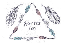 Hand drawn vector illustration - Frame with feathers. Royalty Free Stock Photos