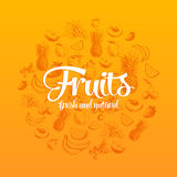Hand drawn vector illustration with fruits and Royalty Free Stock Photo