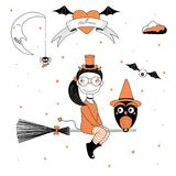 Funny witch and owl illustration. Hand drawn vector illustration of a funny cartoon witch girl with horns and tail, flying on a broomstick with an owl, with text Stock Photography