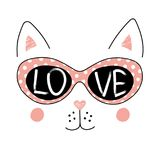 Cute cat in glasses poster. Hand drawn vector illustration of a funny cat face in sunglasses, with text Love written inside the lenses. Isolated objects on white royalty free illustration