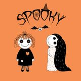 Spooky Halloween girls illustration. Hand drawn vector illustration of funny spooky cartoon girls, a rag doll with stitched mouth, and a girl in a night gown Royalty Free Stock Photos