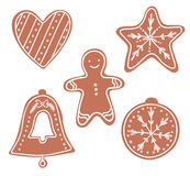 Hand drawn vector illustration - Gingerbread Christmas Cookies Stock Photo