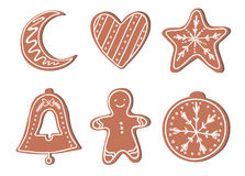 Hand drawn vector illustration - Gingerbread Christmas Cookies Stock Photography