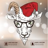 Hand Drawn Vector Illustration of goat hipster. In a suit with glasses, suspenders and butterfly tie. Merry Christmas Card Stock Images